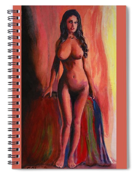 Spiral Notebook featuring the painting Fine Art Female Nude Jean Standing Original Multimedia Painting by G Linsenmayer