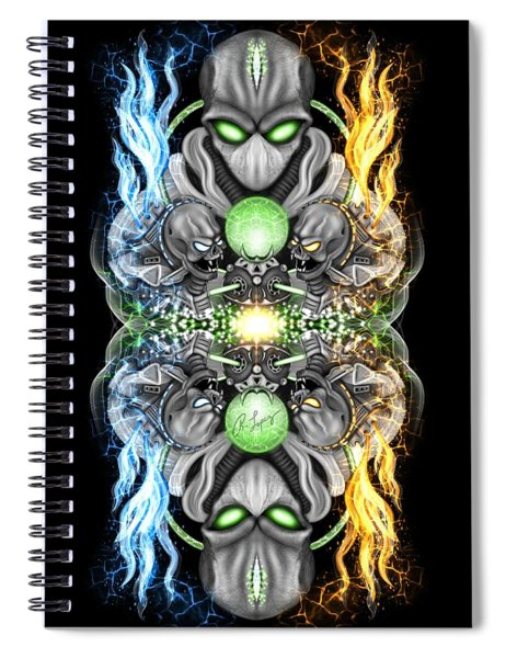 Fire And Ice Alien Time Machine Spiral Notebook