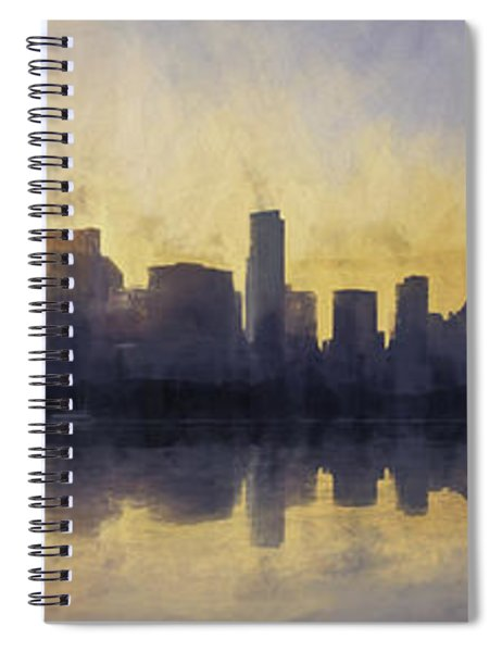 Fire In The Sky Chicago At Sunset Spiral Notebook