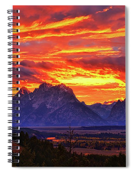 Fire In The Teton Sky Spiral Notebook