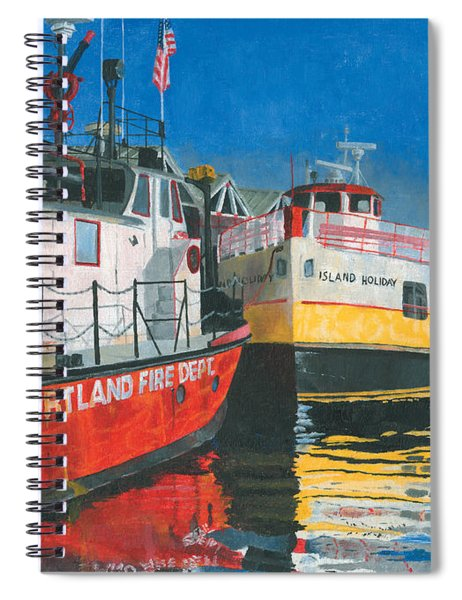 Spiral Notebook featuring the painting Fireboat And Ferries by Dominic White
