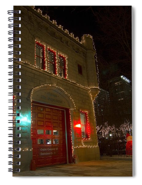 Firehouse In Xmas Lights Spiral Notebook