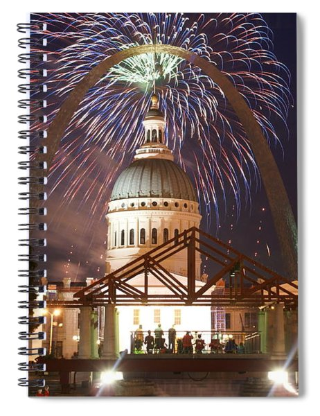 Fireworks At The Arch 1 Spiral Notebook