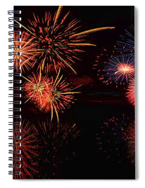 Fireworks Reflection In Water Panorama Spiral Notebook