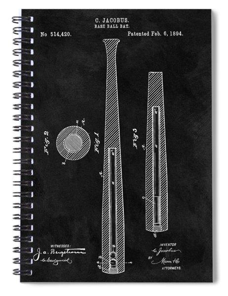 First Baseball Bat Patent Illustration Spiral Notebook