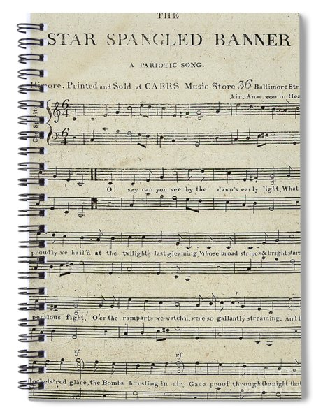 First Edition Of The Sheet Music For The Star Spangled Banner Spiral Notebook