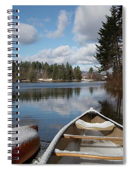 First Snow On Vermont Pond Spiral Notebook