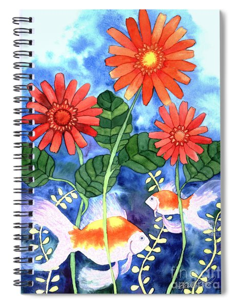Fish And Flowers Spiral Notebook