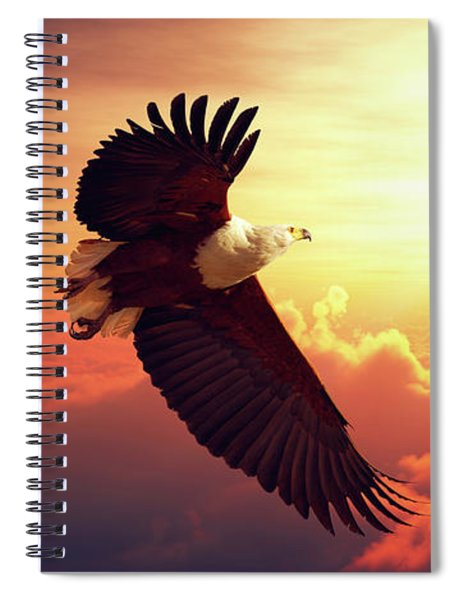 Fish Eagle Flying Above Clouds Spiral Notebook