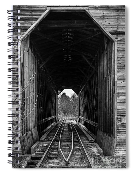 Fisher Covered Railroad Bridge Black And White Spiral Notebook