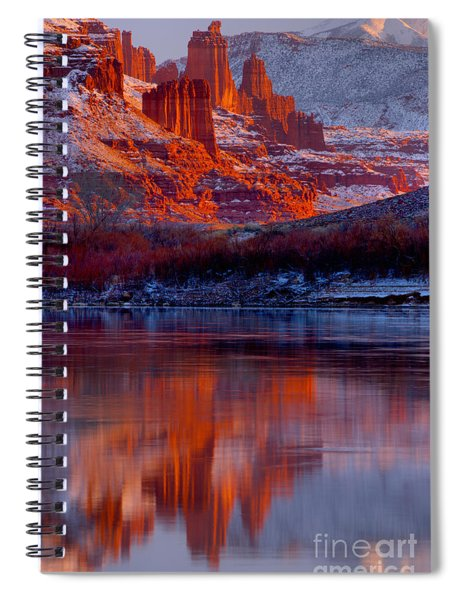 Fisher Towers And Snow Caps Spiral Notebook