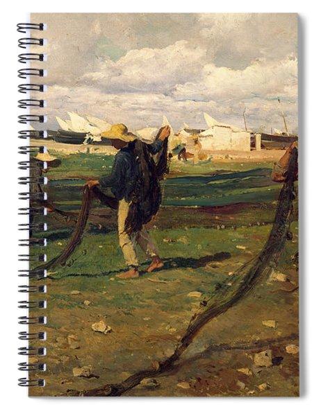 Fisherman Taking Up Nets Spiral Notebook