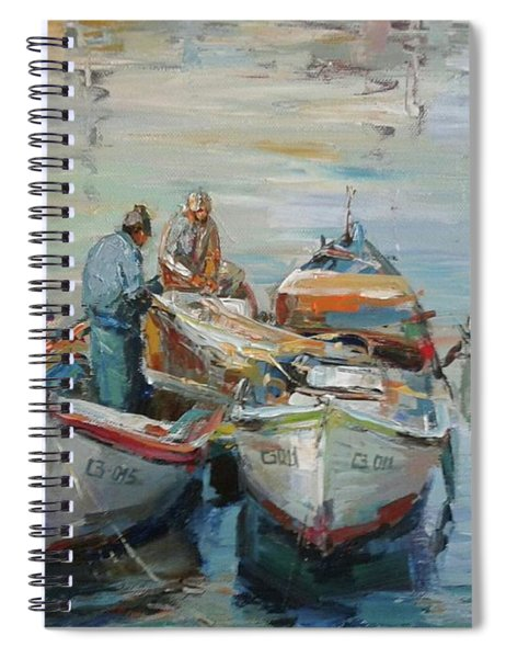 Fishermen With Boats Spiral Notebook