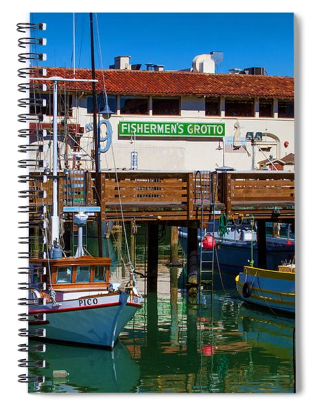 Fishermens Grotto With Wharf Boats Spiral Notebook
