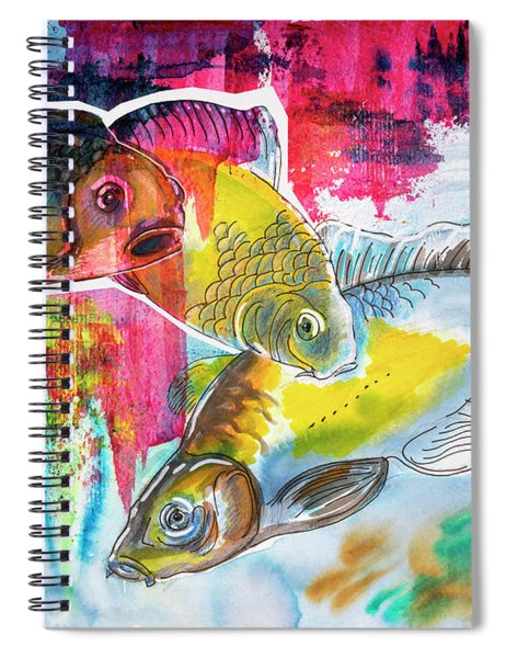 Fishes In Water, Original Painting Spiral Notebook
