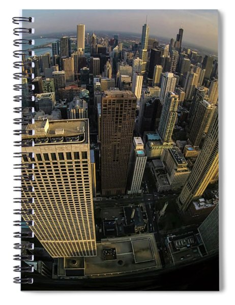 Fisheye View Of Dowtown Chicago From Above  Spiral Notebook