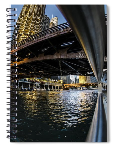 Fisheye View From The Chicago Riverwalk Spiral Notebook