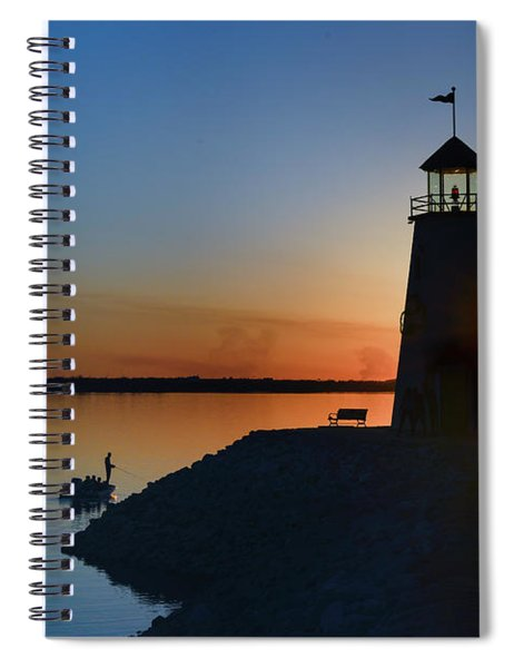 Fishing At The Lighthouse Spiral Notebook