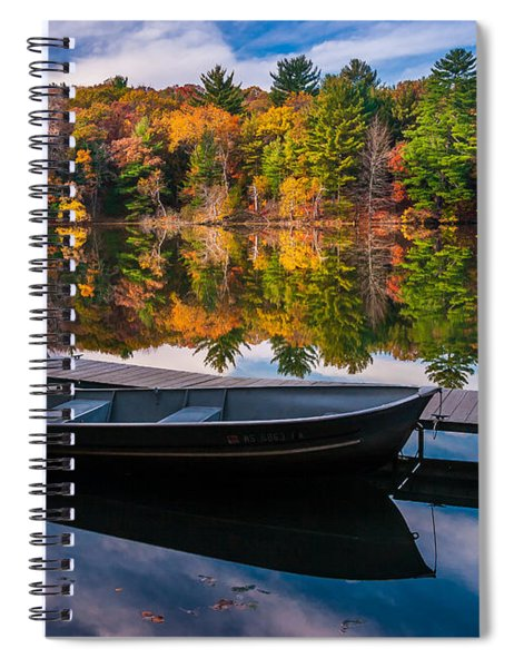 Fishing Boat On Mirror Lake Spiral Notebook