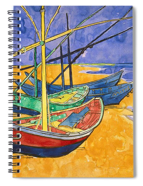 Fishing Boats On The Beach At Saintes Maries De La Mer Spiral Notebook
