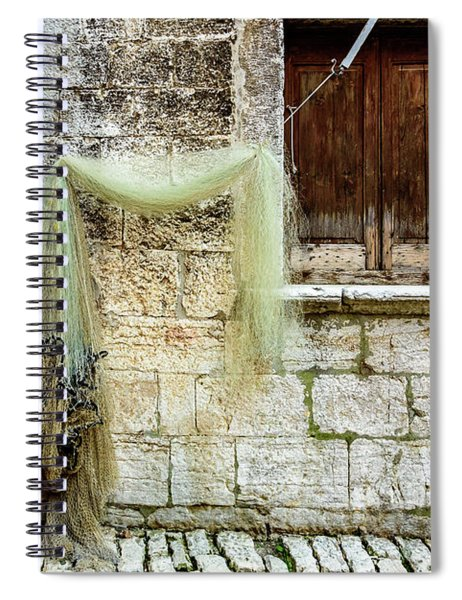 Fishing Net Hanging In The Streets Of Rovinj, Croatia Spiral Notebook