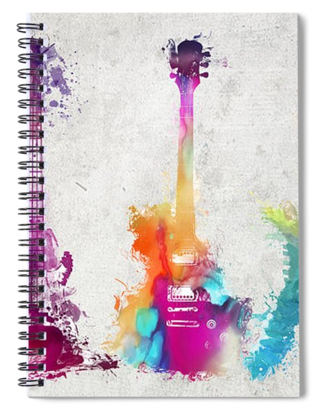 Five Colored Guitars Spiral Notebook