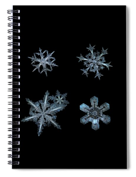 Five Snowflakes On Black 3 Spiral Notebook