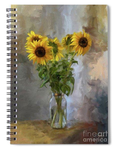 Five Sunflowers Centered Spiral Notebook