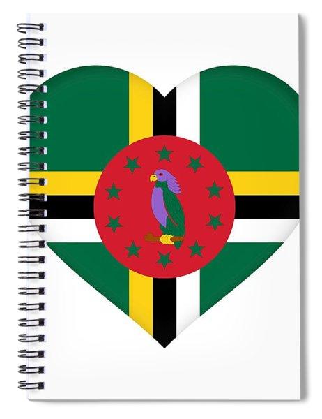 Flag Of Dominica Heart Spiral Notebook