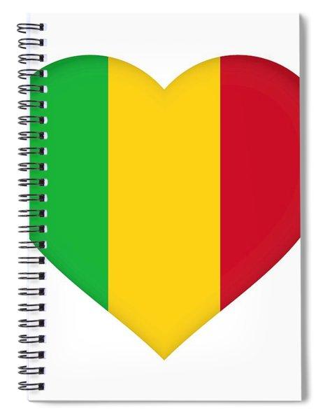 Flag Of  Mali Heart  Spiral Notebook