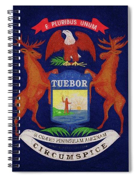 Flag Of Michigan Grunge Spiral Notebook