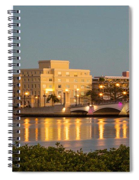 Flagler Bridge In Lights Spiral Notebook