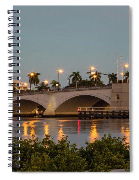 Flagler Bridge In Lights II Spiral Notebook