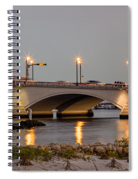 Flagler Bridge In Lights Iv Spiral Notebook