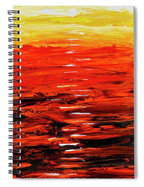 Flaming Sunset Abstract 205173 Spiral Notebook by Mas Art Studio