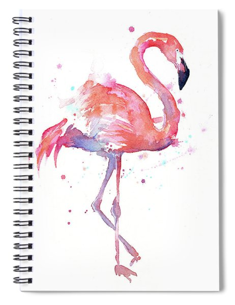 Flamingo Watercolor Facing Right Spiral Notebook