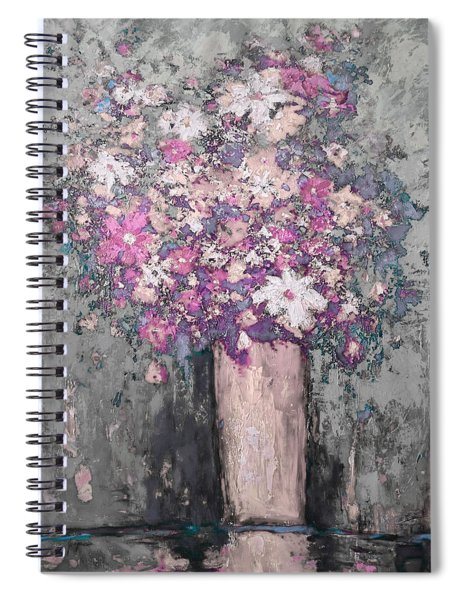 Floral Abstract - Reverse - Modern Impressionist Palette Knife Work Spiral Notebook