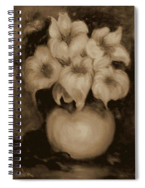 Floral Puffs In Brown Spiral Notebook