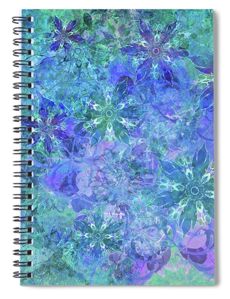 Floral Watercolor Blue Spiral Notebook