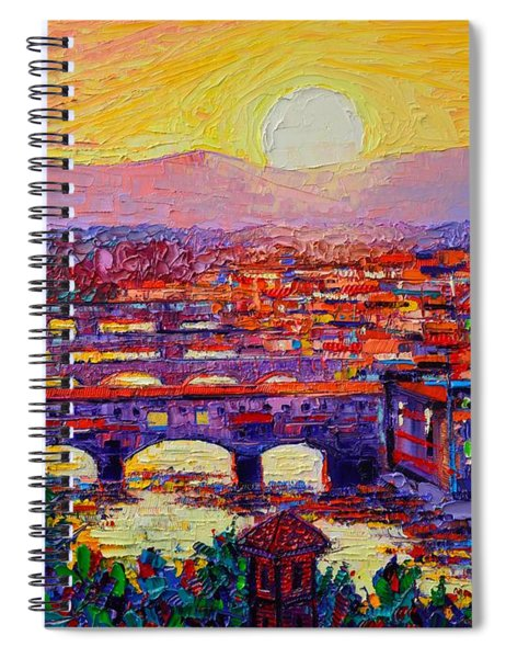 Florence Sunset Over Ponte Vecchio Abstract Impressionist Knife Oil Painting By Ana Maria Edulescu Spiral Notebook