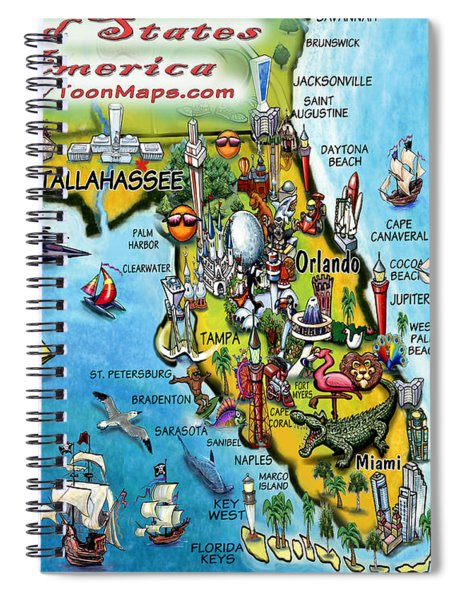 Florida Fun Map Spiral Notebook