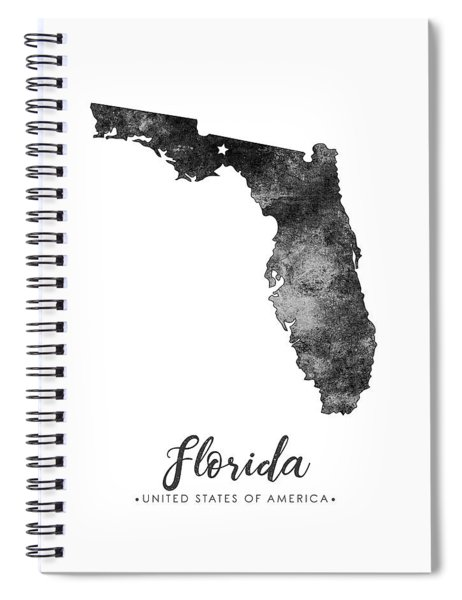 Florida State Map Art - Grunge Silhouette Spiral Notebook
