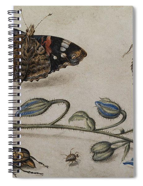 Flower, Insects And Butterfly Spiral Notebook