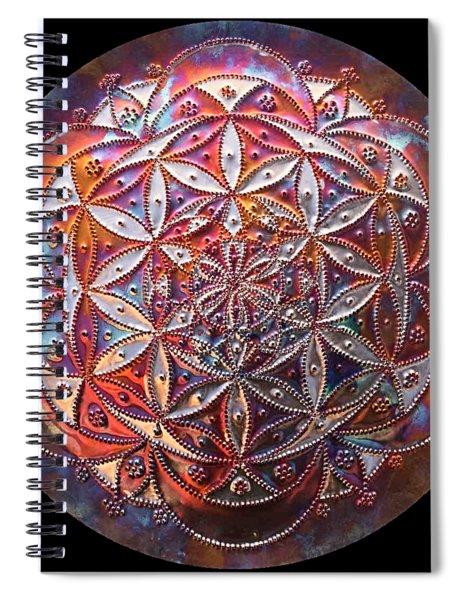 Spiral Notebook featuring the sculpture Flower Of Life Copper Lightmandala by Robert Thalmeier