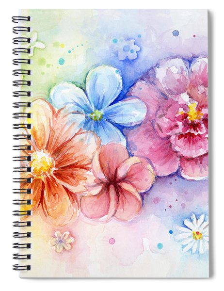 Flower Power Watercolor Spiral Notebook