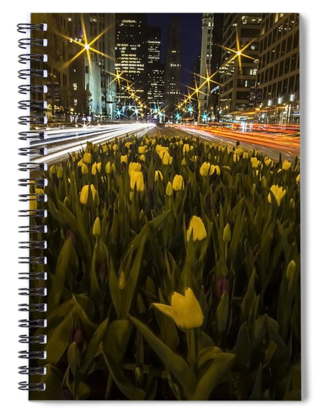 Flowers At Night On Chicago's Mag Mile Spiral Notebook