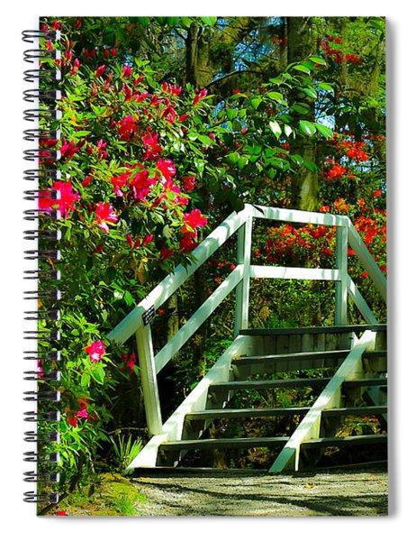 Flowers Bloom Alongside Magnolia Plantation Bridge - Charleston Sc Spiral Notebook