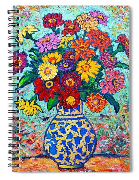 Flowers - Colorful Zinnias Bouquet Spiral Notebook