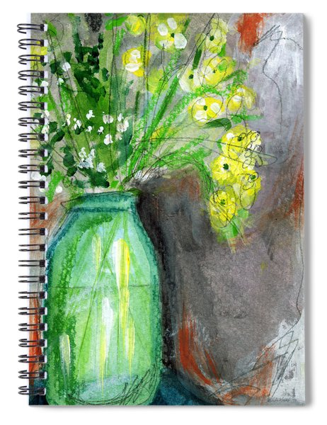 Flowers In A Green Jar- Art By Linda Woods Spiral Notebook