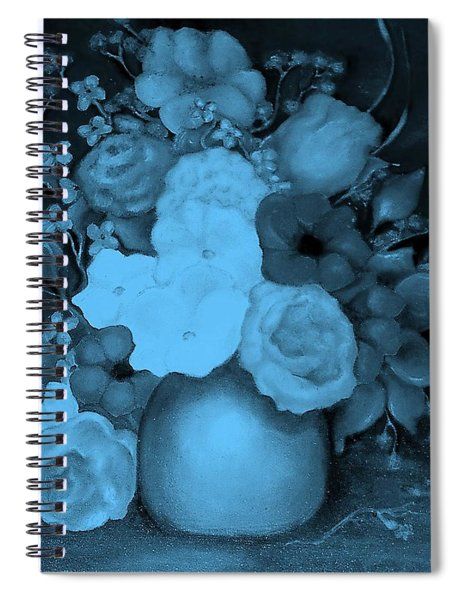 Flowers In Blue Spiral Notebook